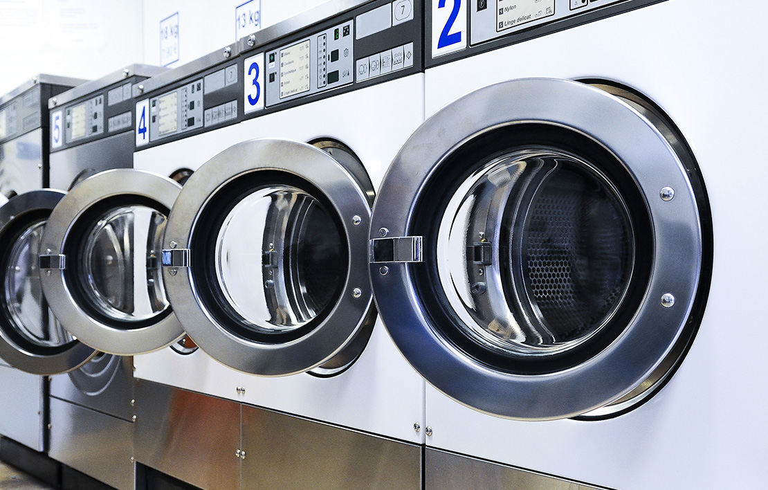 White and chrome washing machines